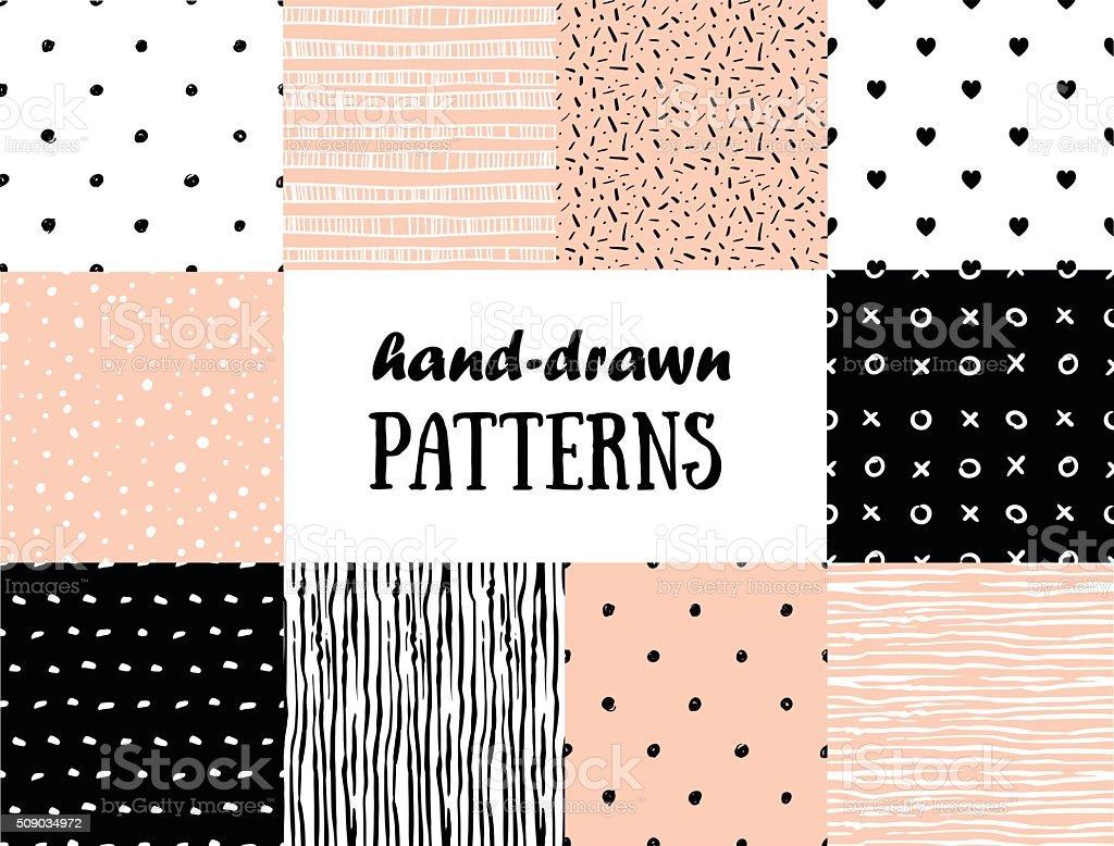 のセット抽象的なシームレスパターン、ピンク、ホワイト、ブラック ベクターアートイラスト