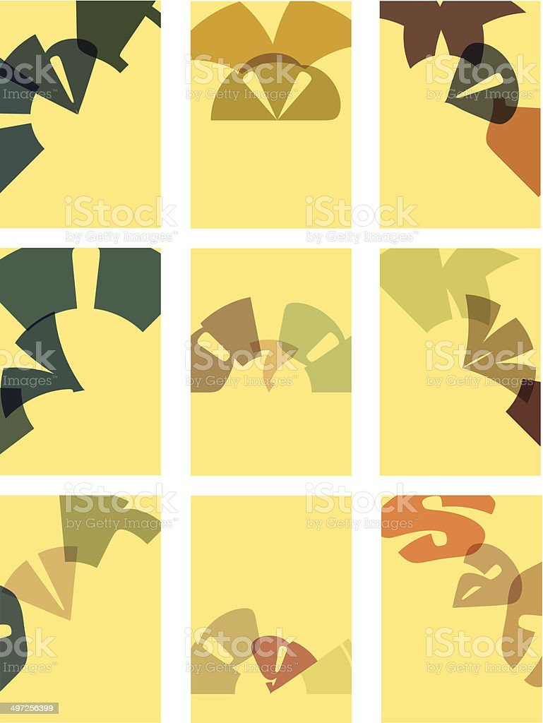 set of abstract shape with yellow background royalty-free stock vector art