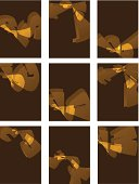 set of abstract shape with yellow background for design.(ai eps10 with transparency effect)