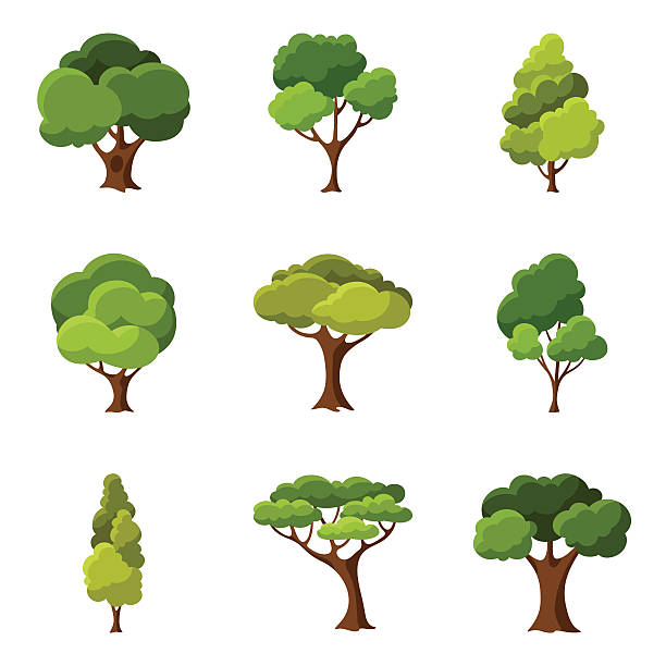 set of abstract stylized trees - trees stock illustrations