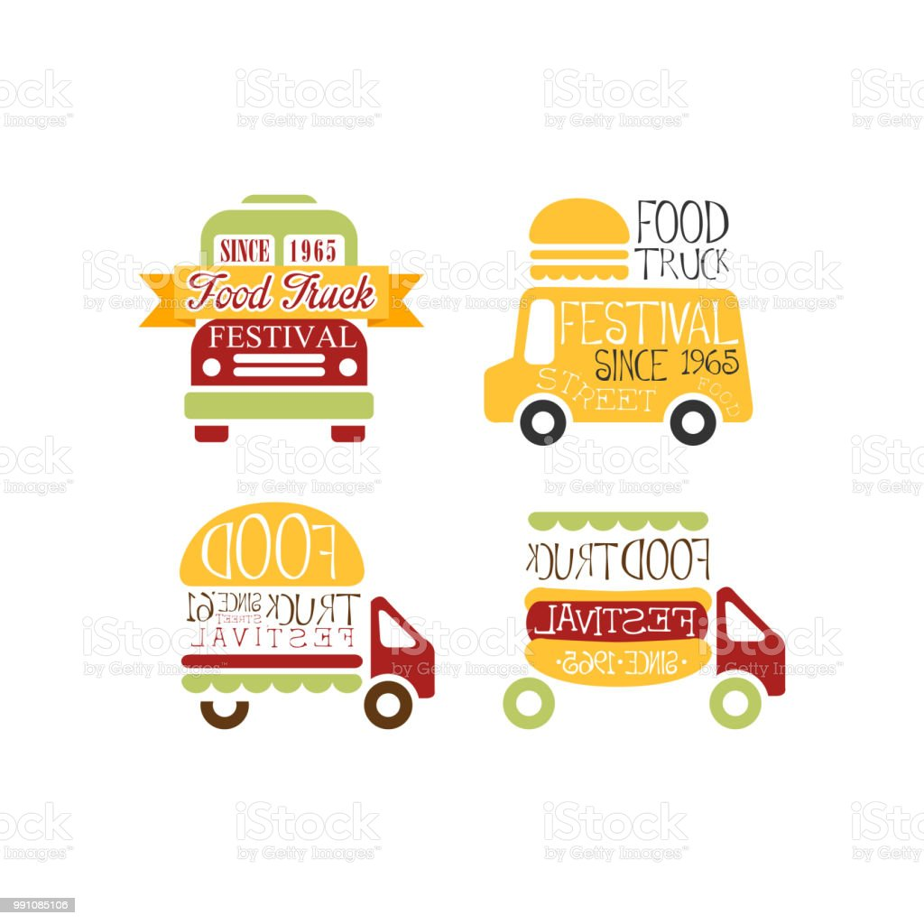 set of abstract templates for food truck festival street eating