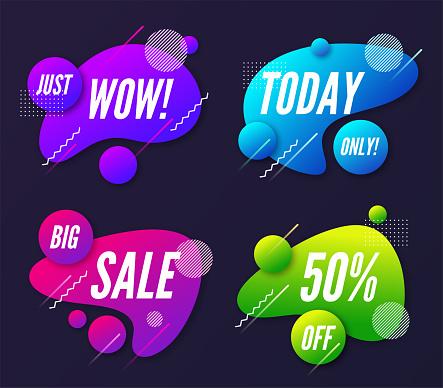 Aantal Abstracte Trendy Dynamische Stijl Composities Promotie Verbod Stockvectorkunst en meer beelden van Abstract