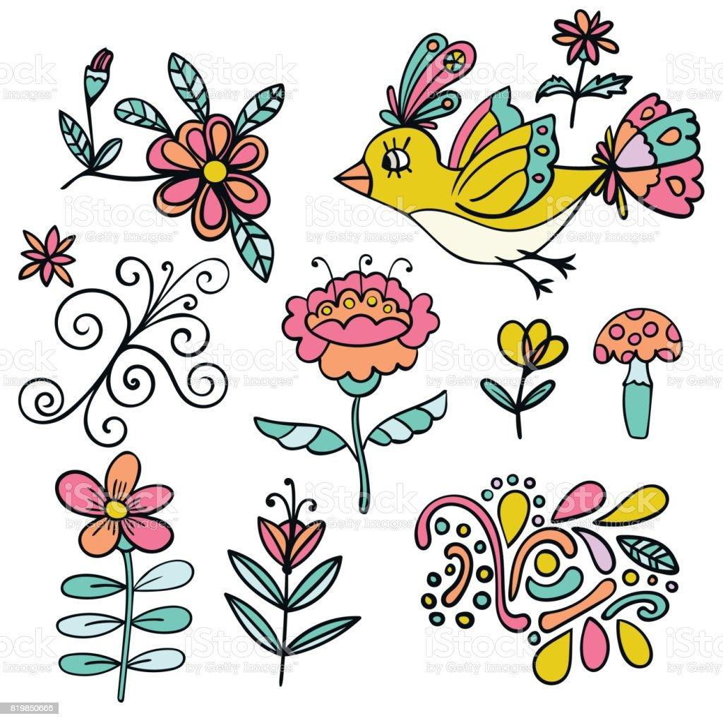 Ilustracion De Conjunto De Elementos Abstractos De Flores Tropicales