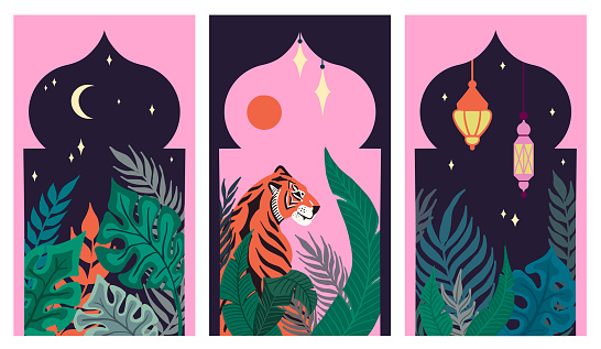 Set of Abstract tropical Leaves, Tiger and Islamic Arabic lantern in the Asian Arches. Arabian night. Sun, moon and stars. Hand-drawn Vector illustration in an aesthetic oriental asian style. Flat design.