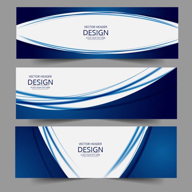 Set of abstract vector banners design. Collection of web banner template. Set of abstract vector banners design. Collection of web banner template. modern template design for web, ads, flyer, poster with 3 different colors isolated on grey background blue borders stock illustrations