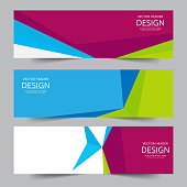 Set of abstract vector banners design. Collection of web banner template. modern template design for web, ads, flyer, poster with 3 different colors isolated on grey background