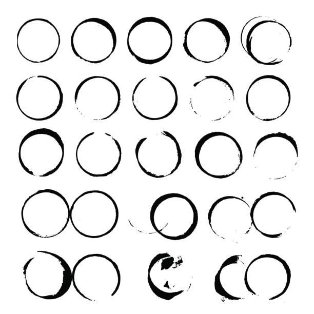 stockillustraties, clipart, cartoons en iconen met set van abstract vector zwarte wijn vlek cirkels op witte achtergrond - stamppot