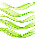 Set of Abstract vector flow transparent color wave. Dynamic wavy lines