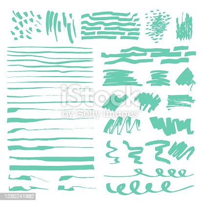 Set of abstract vector of hand drawn green marker strokes, lines, scribbles.  Design elements, different shapes for templates, patterns, logos, banners, icons. White isolated background.