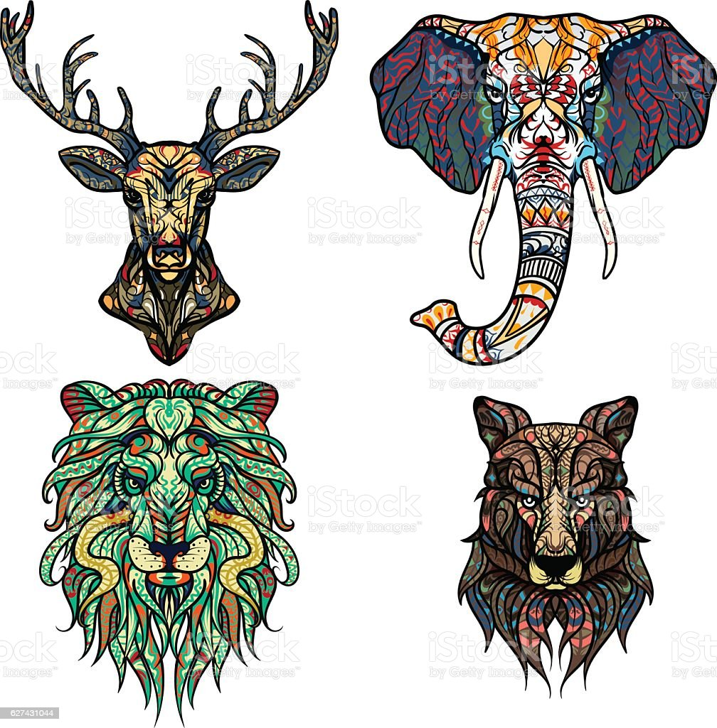 Set of Abstract Vector tattoo illustrations. Lion, deer, elephant, wolf. – Vektorgrafik
