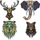 Set of Abstract Vector tattoo illustrations. Lion, deer, elephant, wolf.