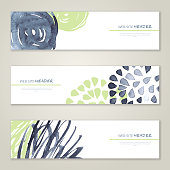 Set of abstract vector watercolor banners