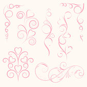 Set of abstract vertical floral pink swirl with heart on pink background. Vector illustration for greeting  card.