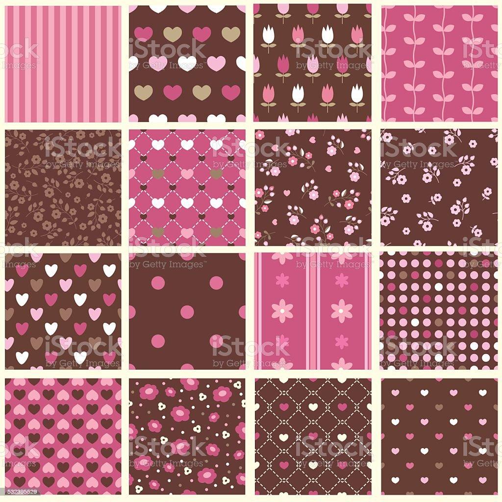 Set of abstract vintage seamless patterns vector art illustration