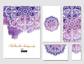 Watercolor paint background with white hand drawn round doodles and mandalas. backdrop. Hand drawn decorative vector design element. Set of abstract watercolor backgrounds with space for you text