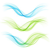 Set of abstract blue and green waves. Vector illustration EPS 10
