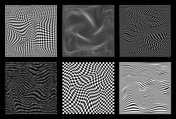 stockillustraties, clipart, cartoons en iconen met set van abstract golvende twisted vervormde lijn stippen pleinen binaire code zwart-wit texturen achtergronden - vervormd beeld