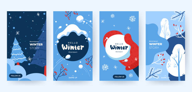 Set of abstract winter backgrounds for social media stories. Colorful winter banners with falling snowflakes, snowy trees. Wintry scenes . Use for event invitation, discount voucher, ad. Vector eps 10 vector art illustration