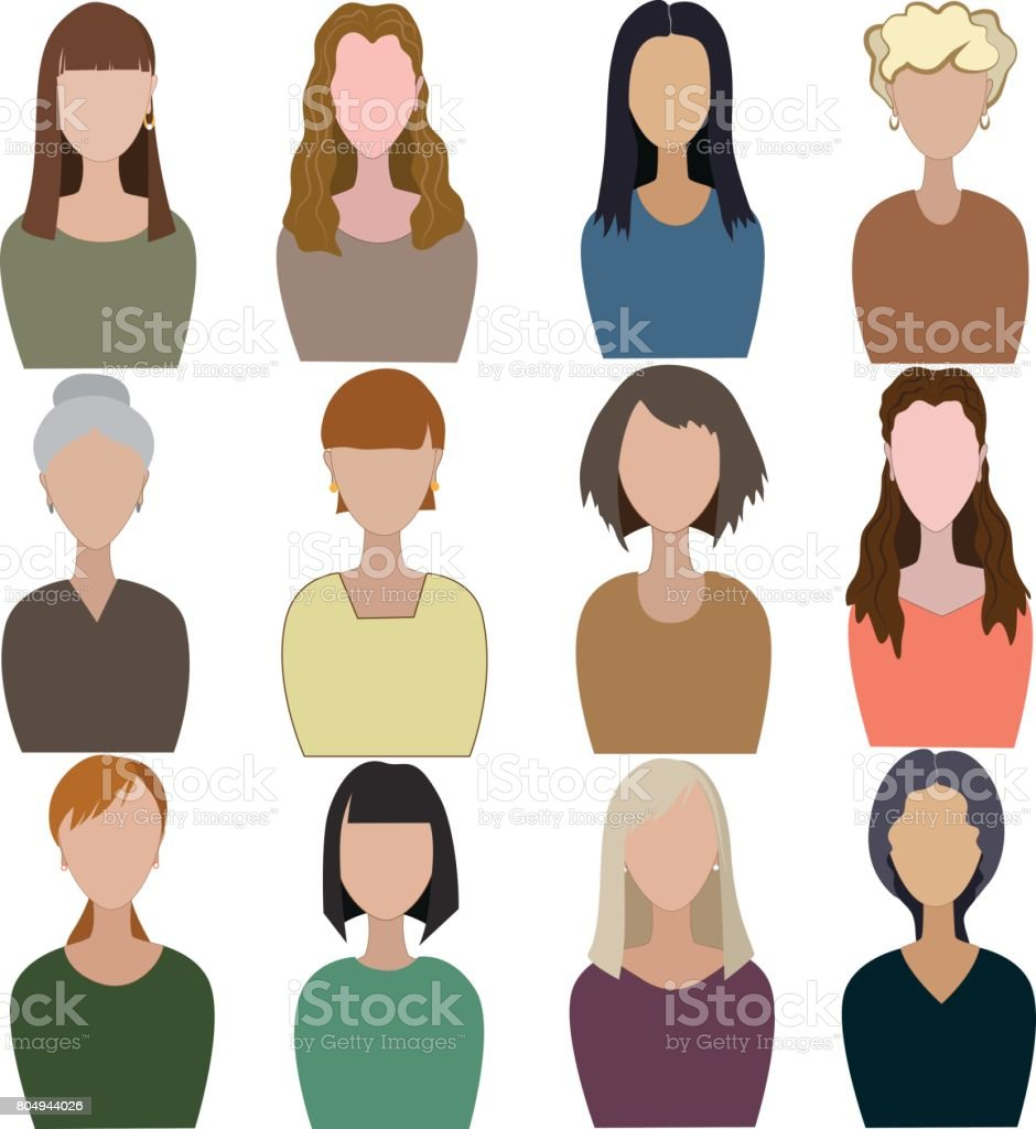 Set of abstract women. vector art illustration