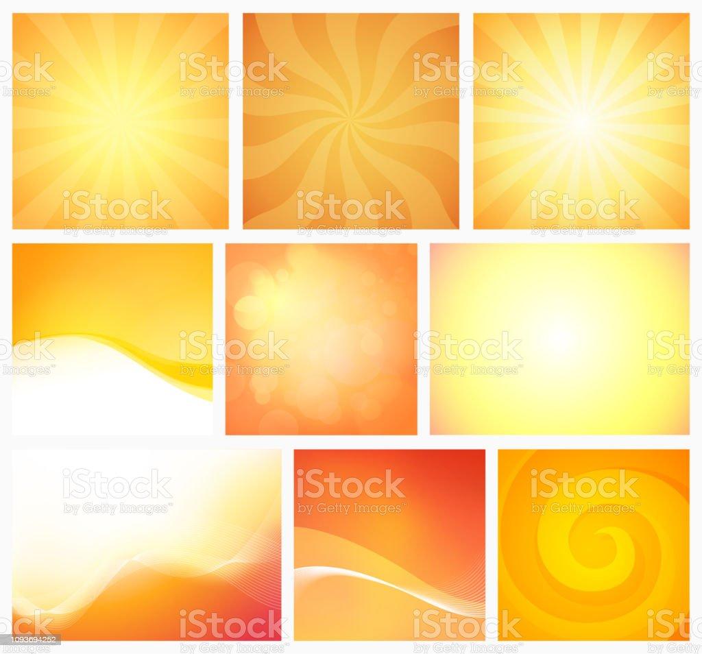 背景黄色オレンジ色の暖かい色のセットですカラフルな明るい壁紙と