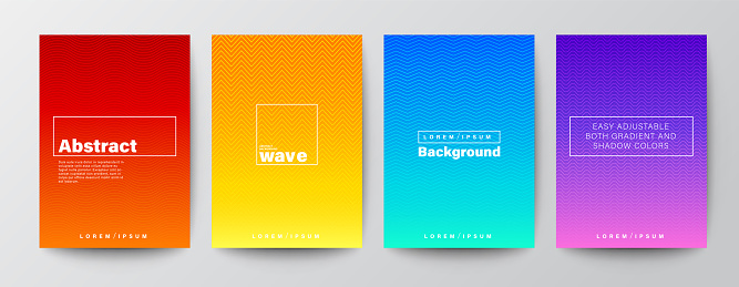 Set of abstract zigzag wave line stripe on gradient background. Minimal futuristic background for Brochure, Flyer, Poster, leaflet, Book cover, Banner, Presentation, Website, App, wallpaper.