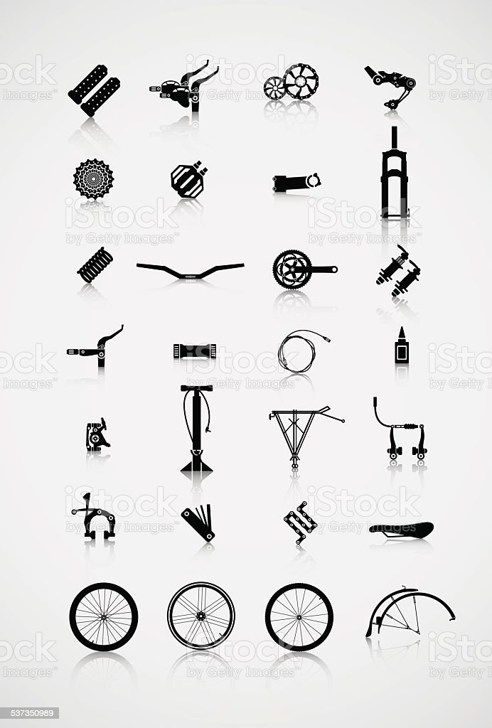 Set of accessories for the bike. vector art illustration