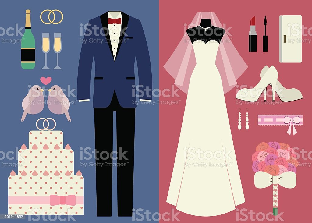 Set of accessories for wedding ceremony vector art illustration