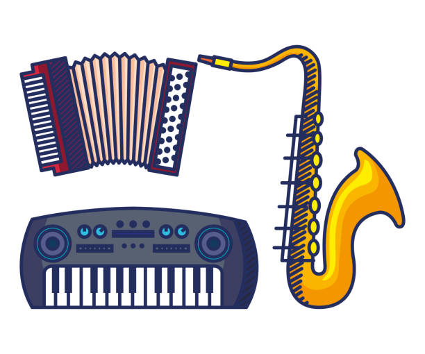 set of accodeon with saxophone and piano instruments - akordeon instrument stock illustrations