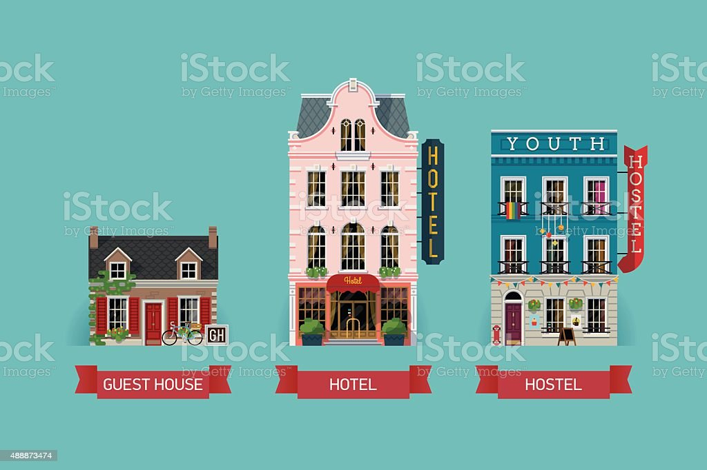 Set of accomodation building facades vector art illustration