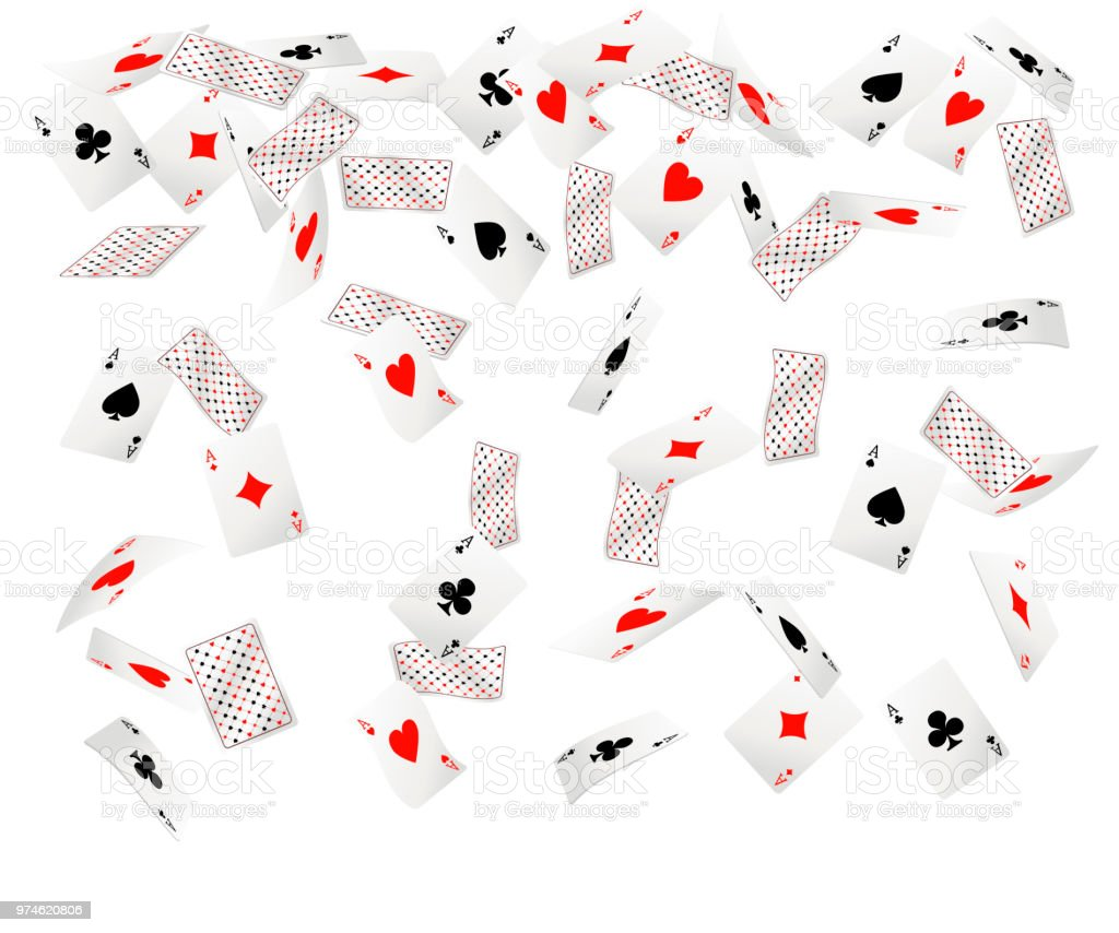Set of ace playing cards. Falling playing cards. Back side design....