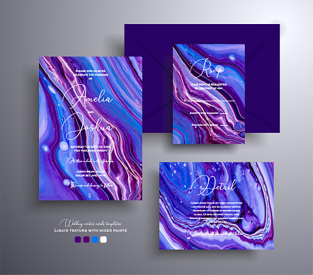 Set of acrylic wedding invitations with stone texture. Agate vector cards with marble effect and swirling paints, purple, blue and navy blue colors. Designed for greeting cards, packaging and etc.