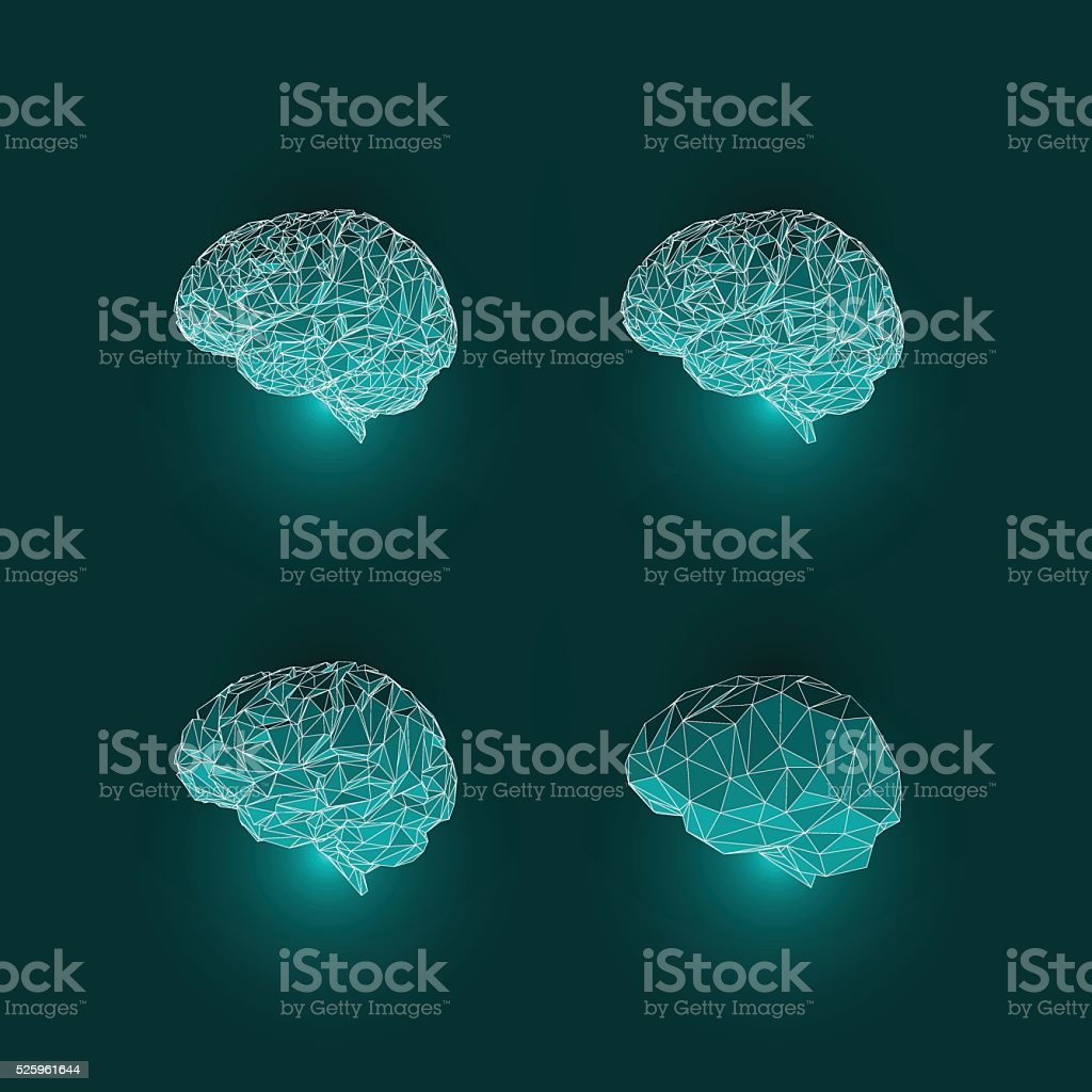 Set of Active Human Brains on Dark Background vector art illustration