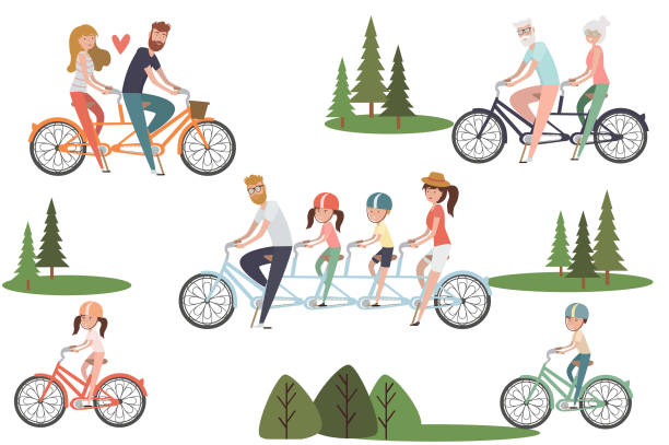 set of active people riding on bicycles in the park with couples, families, kids, elderly couples. active and healthy life and relaxing in park - old man on bike stock illustrations, clip art, cartoons, & icons