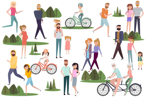 set of active people walking and  riding on bicycles in the park. active couples, families, kids, elderly couples - old man on bike stock illustrations