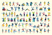 Bundle of cartoon men and women performing outdoor activities on city street. Flat colorful vector illustration people walking, standing, talking, running, jumping, sitting, dancing and doctors