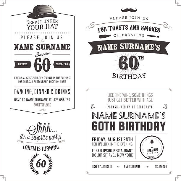 set of adult birthday invitation vintage typographic design elements - surprise stock illustrations