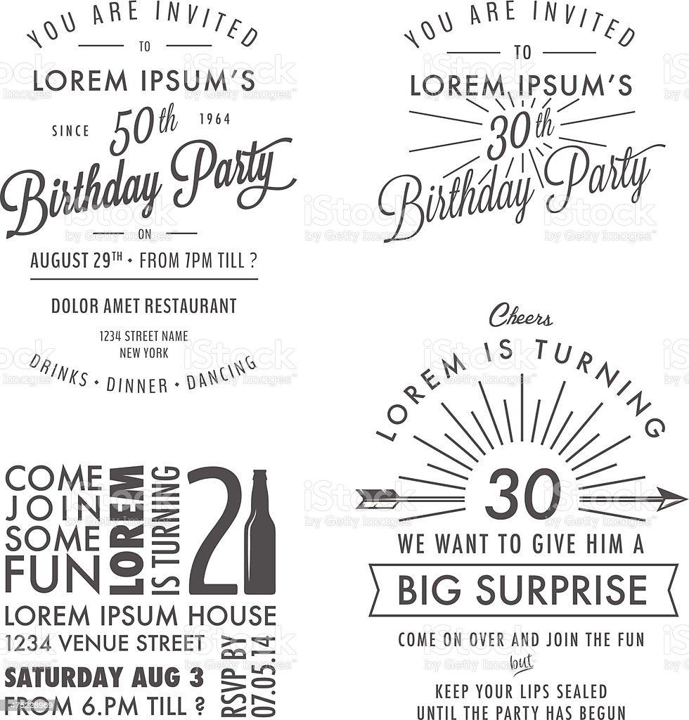 Ensemble De Vintage Invitation Anniversaire Adulte Elements De Design Typographique Vecteurs Libres De Droits Et Plus D Images Vectorielles De Alcool Istock