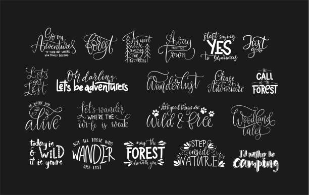 Set of adventure and travel vector quotes. Set of adventure, outdoors and travel vector quotes. Nature and forest calligraphy collection. aphorism stock illustrations