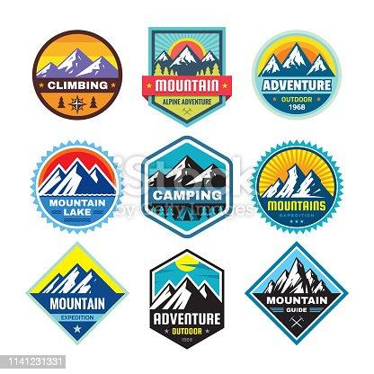 Set of adventure outdoor concept badges, summer camping emblem, mountain climbing emblem in flat style. Extreme exploration sticker symbol. Creative vector illustration. Graphic design element.