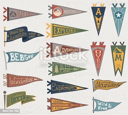 Set of adventure, outdoors, camping colorful pennants. Retro labels on textured background. Hand drawn wanderlust style. Pennant travel flags design. Vector illustration.
