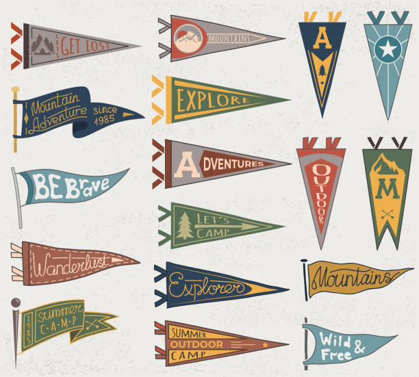 set of adventure, outdoors, camping colorful pennants. retro labels on textured background. hand drawn wanderlust style. pennant travel flags design - university stock illustrations, clip art, cartoons, & icons