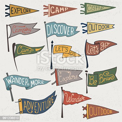 Set of adventure, outdoors, camping colorful pennants. Retro monochrome labels on textured background. Hand drawn wanderlust style. Pennant travel flags design. Vector illustration.