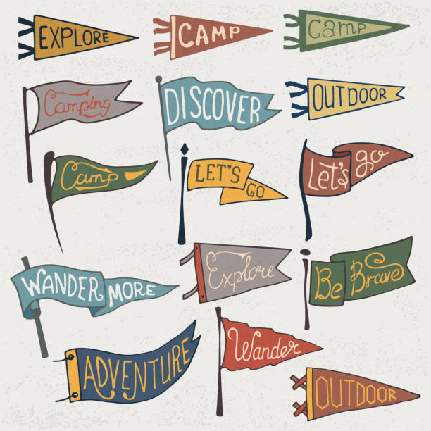 Set of adventure, outdoors, camping colorful pennants. Retro monochrome labels on textured background. Hand drawn wanderlust style. Pennant travel flags design Set of adventure, outdoors, camping colorful pennants. Retro monochrome labels on textured background. Hand drawn wanderlust style. Pennant travel flags design. Vector illustration. pennant stock illustrations