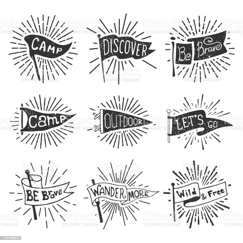 Set of adventure, outdoors, camping pennants. Retro monochrome labels with light rays. Hand drawn wanderlust style. Pennant travel flags design vector art illustration