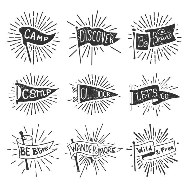 set of adventure, outdoors, camping pennants. retro monochrome labels with light rays. hand drawn wanderlust style. pennant travel flags design - białoruś stock illustrations