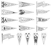 Set of adventure, outdoors, camping pennants. Retro monochrome labels. Hand drawn wanderlust style. Pennant travel flags design. Vector illustration.