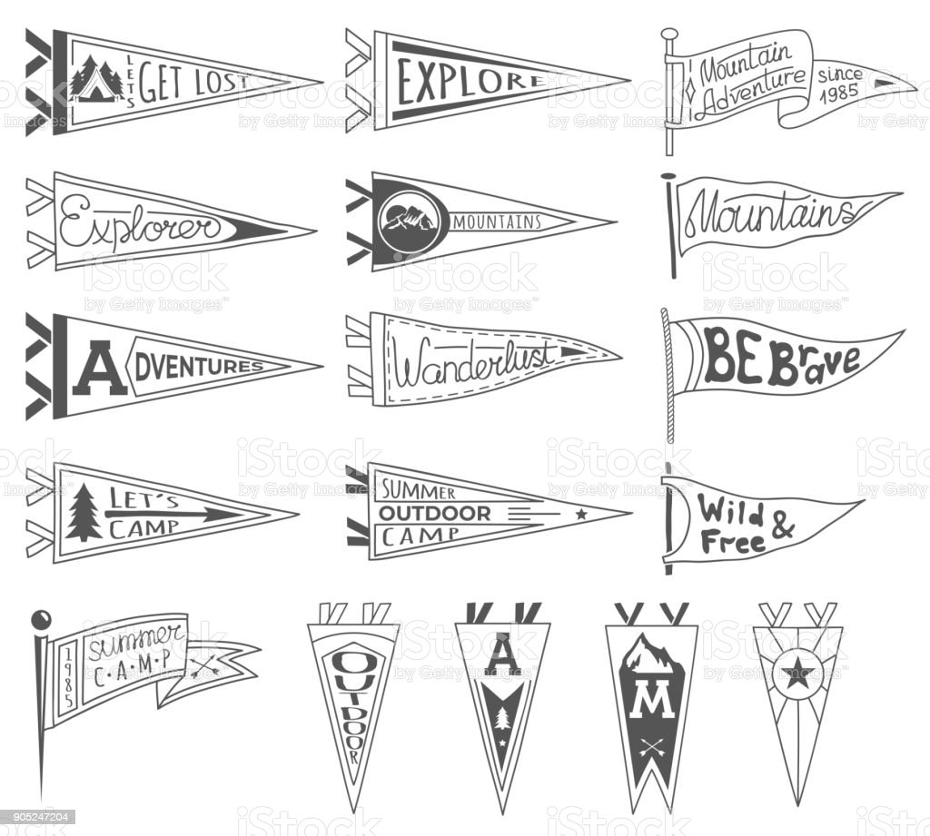 Set of adventure, outdoors, camping pennants. Retro monochrome labels. Hand drawn wanderlust style. Pennant travel flags design vector art illustration