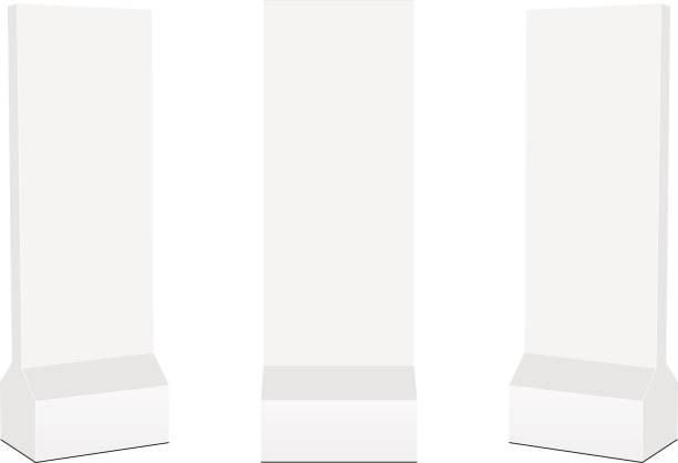 illustrazioni stock, clip art, cartoni animati e icone di tendenza di set of advertising stand banners isolated on white background - totem fair