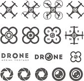 Set of aerial drone footage emblems and icons. Remote controlled air drones in various designs, shutter icons, lens icons.