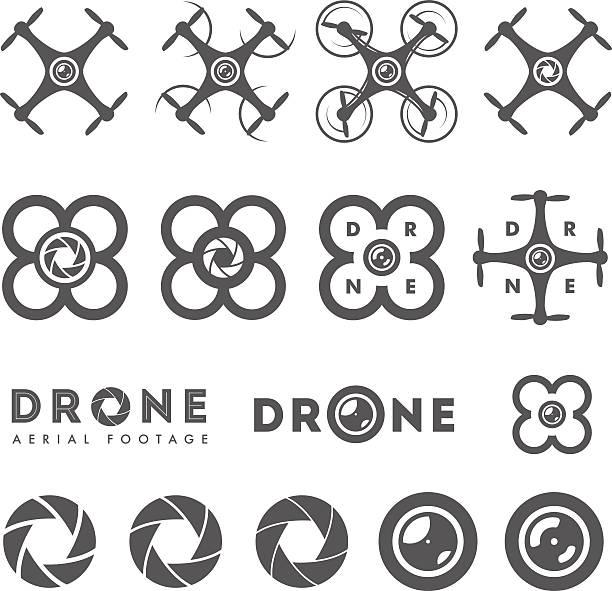 ilustrações de stock, clip art, desenhos animados e ícones de conjunto de antena monótona filmes emblemas e ícones de - drone